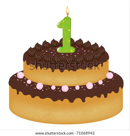 Birthday Cake With Candles With Number One, Isolated On White Background, Vector Illustration