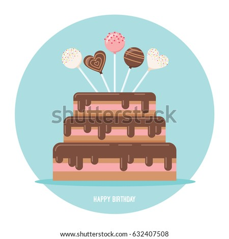 Birthday cake with pops vector illustration/ icon #632407508