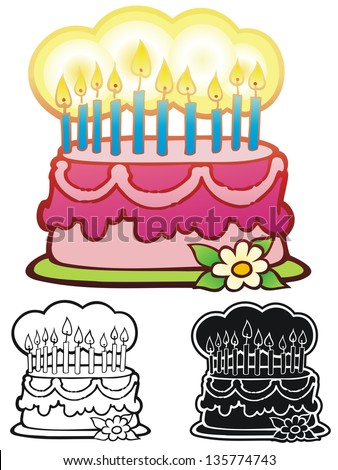 Birthday cake with ten candles.  Comes with inverse and black out line