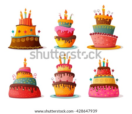 birthday  cakes set eps10