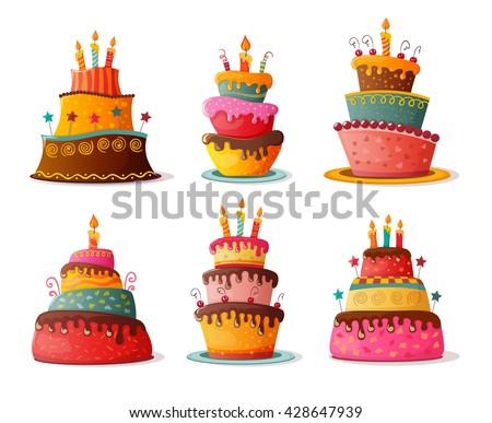 birthday  cakes set. eps10