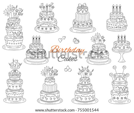 Cake White Outline Icons Download Free Vector Art Stock