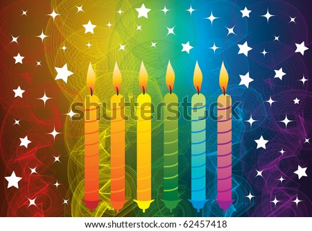 Birthday Candles And Colorful, Smoke, Stars, Background, Vector