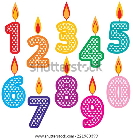 Birthday Candles Clip Art Set. Colorful Number Birthday Cake ...