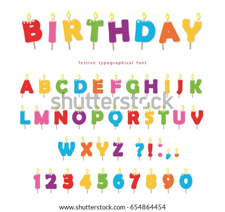 Birthday Candles Colorful Font Design Bright Festive ABC Letters And Numbers Isolated On White