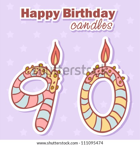 Birthday candles nubmer figures colorful set