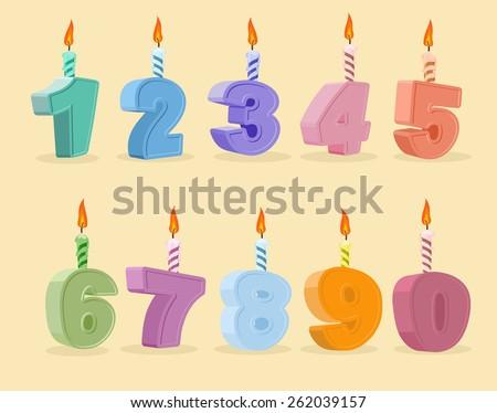birthday candles set. Vector illustration.  cartoon numbers Foto stock ©