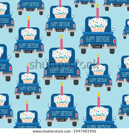 Birthday car and cake pattern illustration for birthday gift wrap Photo stock ©