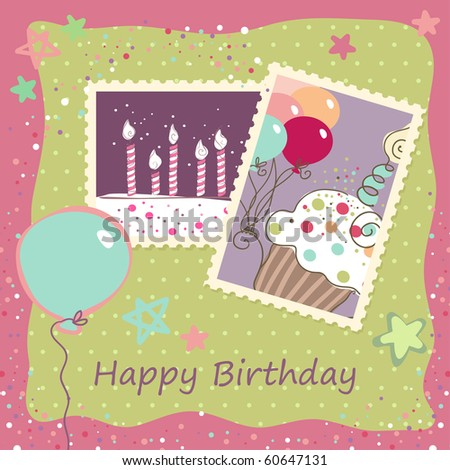 Birthday Card Stock Vector 60647131 : Shutterstock