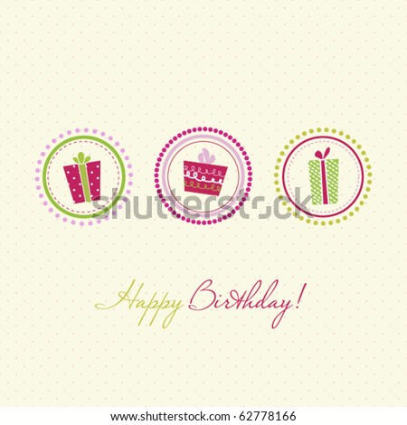 Birthday Card Stock Vector 62778166 : Shutterstock