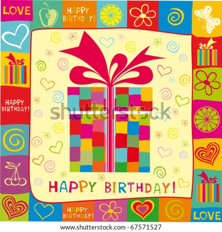 Birthday Card Stock Vector 67571527 : Shutterstock