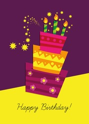 Birthday card, birthday cake with candles and decorations