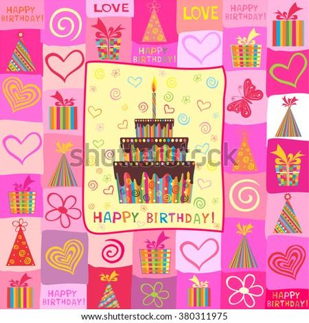 birthday card celebration pink