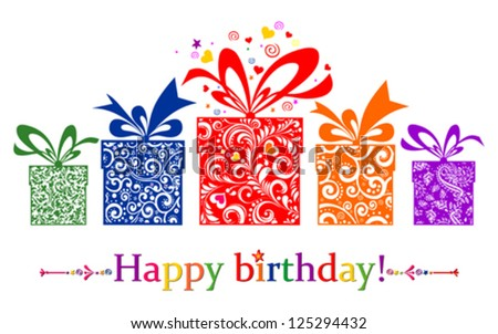 Birthday card Celebration red background with gift boxes and place for your text vector illustration