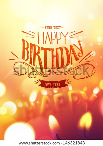 Birthday card design with candle lights in background Photo stock ©