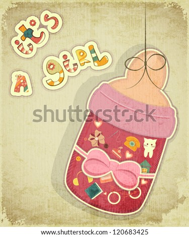 Birthday Card for Girl. Baby milk bottle for girl on vintage background. Vector illustration.
