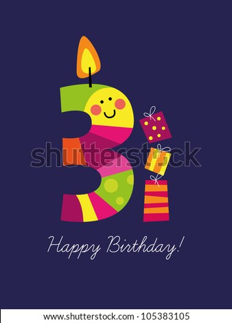 Birthday card for the third birthday