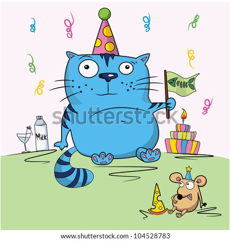 Birthday card, funny cartoon cat and mouse