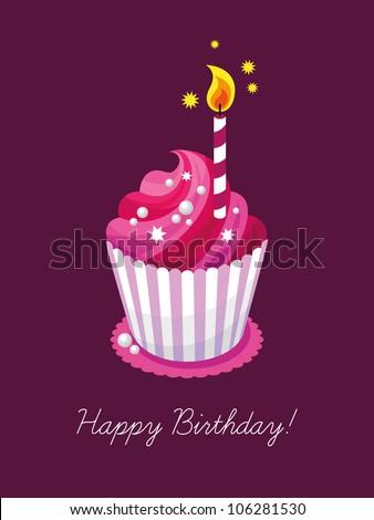 Birthday card, gift card, cake, cupcake, candle, sweet shop