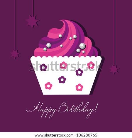 Birthday Card Gift Card Cake Cupcake Tag Vector – Cupcake Birthday Cards