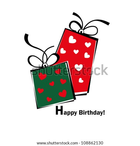Birthday card, gift card, gifts ideal for valentine and Christmas - stock vector