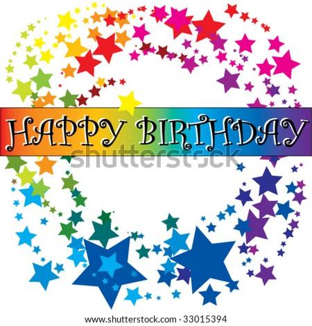 Birthday Card In Rainbow Colors Stock Vector 33015394 :