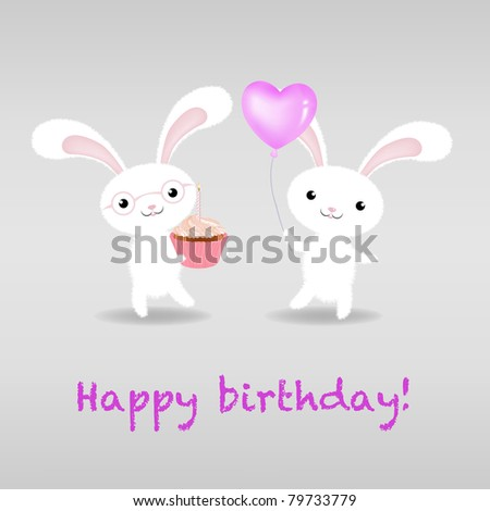 Birthday Card, Isolated On White Background, Vector Illustration