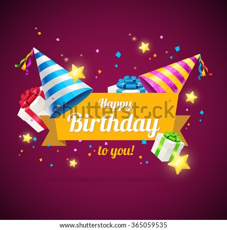 Birthday Card or Flyer or Placard. Vector illustration