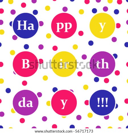 Birthday Card Over Seamless Spotted Background Stock Ve