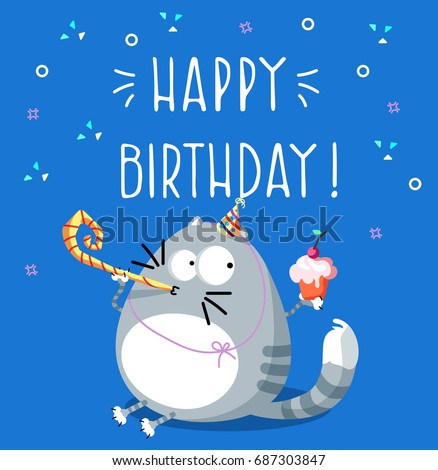 Birthday card. Postcard with the image of a cat with a cake. Vector illustration.