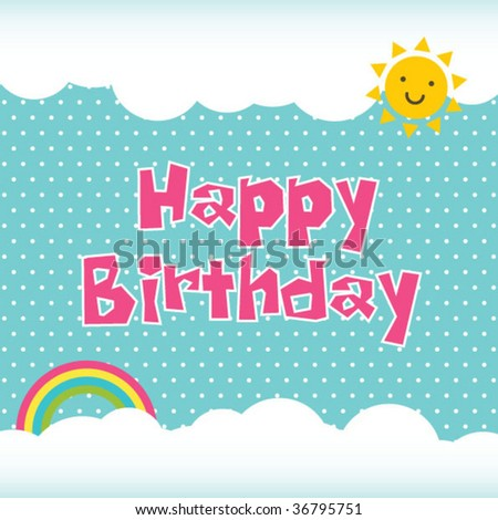 Birthday Card Template Stock Vector 36795751 : Shutters