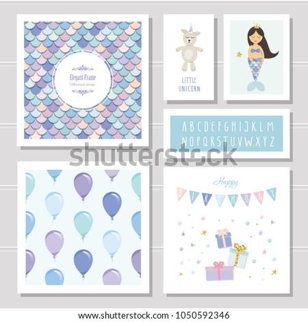 birthday card templates set