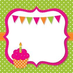 Birthday card with a cupcake, vector EPS10