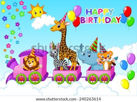 Birthday Card With Animal On Train Ez Canvas