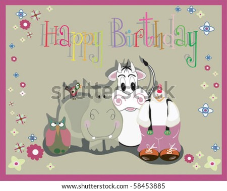 birthday card with animals