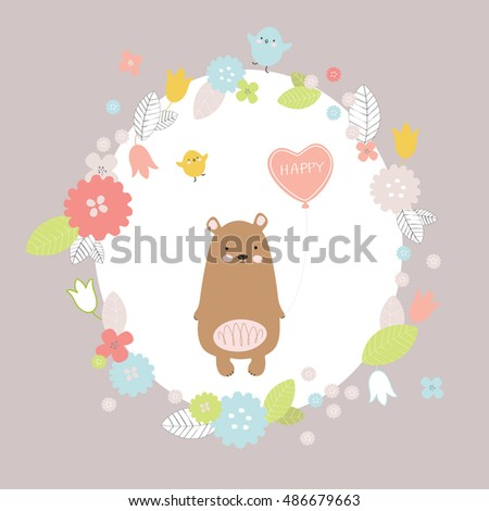 Birthday Card With Animals Cute Bear Bird And Flowers In Cartoon