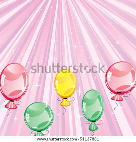 stock vector : Birthday card with ballons on pink backg