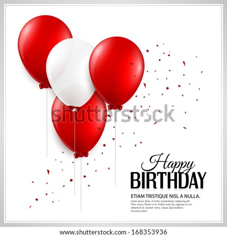 Birthday card with balloons and birthday text. Photo stock ©