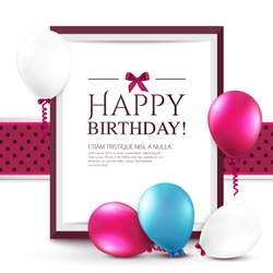 Birthday card with balloons and frame.