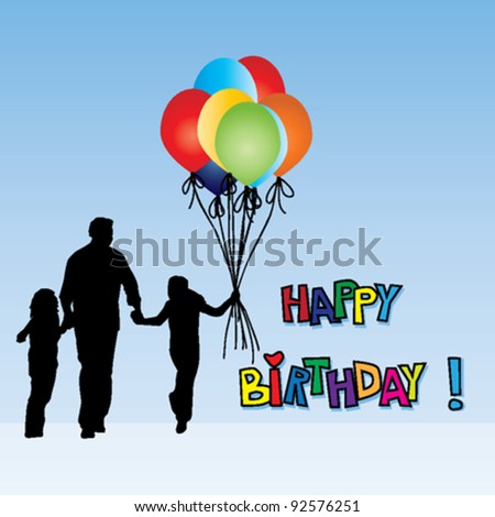 Birthday card with balloons and silhouettes