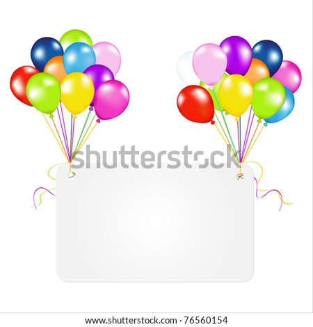 Birthday Card With Balloons, Isolated On White Background, Vector Illustration
