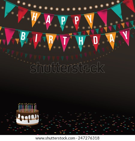Birthday card with big cake and flags background EPS 10 vector royalty free stock illustration Perfect for ads, poster, flier, signage, promotion, greeting card, blog