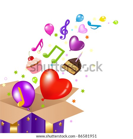Birthday Card With Box, Isolated On White Background, Vector Illustration