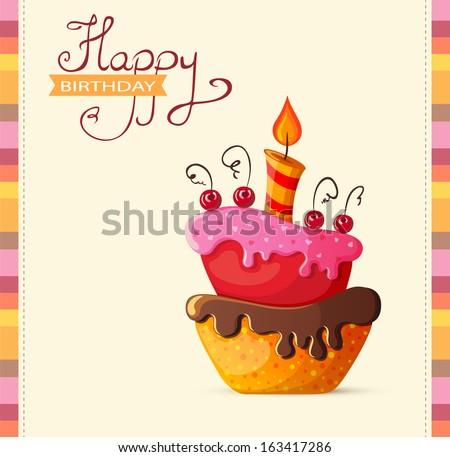 Birthday card with cake illustration Stock foto ©