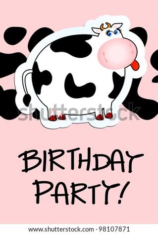 Birthday card with cartoon cow, vector
