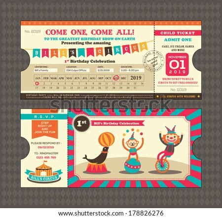 Birthday card with Circus Ticket pass design Template