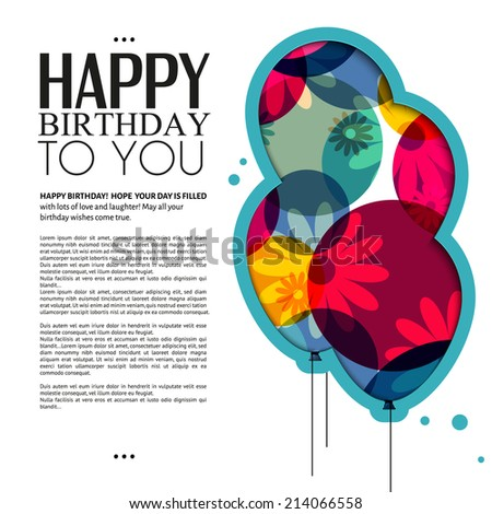 Birthday card with color balloons flowers and birthday text