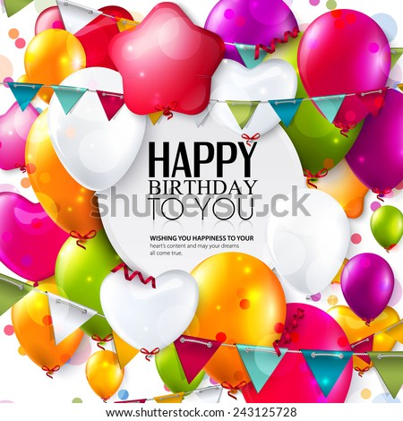 Birthday card with colorful balloons and confetti. Photo stock ©