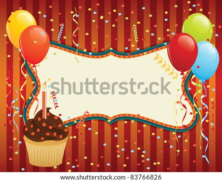 Birthday Card with cupcake, balloons and confetti. CMYK EPS 8 with global colors vector illustration.