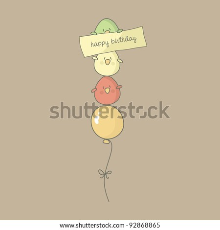 Birthday card with cute birds flying on a balloon Vector